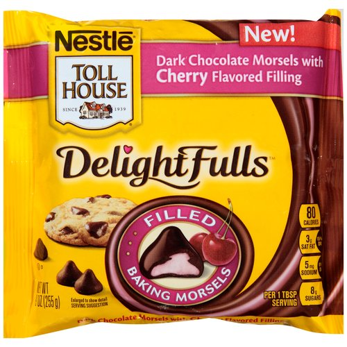 Nestle Toll House DelightFulls Dark Chocolate with Cherry Flavored Filling Baking Morsels, 9 oz