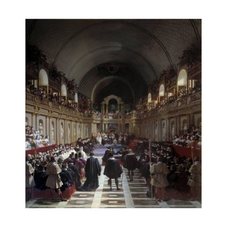 Estates General Gathered by Louis XIII at the Louvre in 1614 by Jean Alaux Print Wall Art