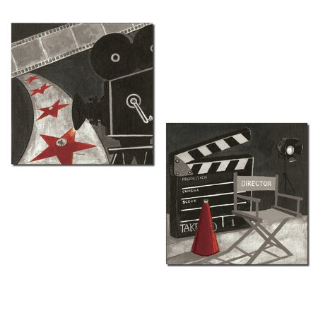 Movie Night! Classic Film Reel and Director Chair Signs; Two 12X12 Poster Prints (Movie Reel Decor)