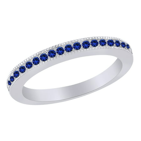 Simulated Blue Sapphire Anniversary Band Ring in 14k White Gold Over Sterling Silver (0.25 Cttw) Size Ring - 6 Anniversary Band Genuine Sapphire