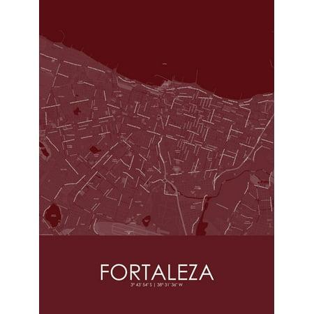 Brazil Antique Map (Fortaleza, Brazil Red Map Poster Wall Art )