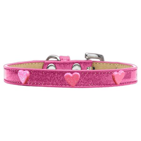 Mirage Pet 633-13 PK12 Pink Glitter Heart Widget Ice Cream Dog Collar, Pink - Size 12 Heart Dog Pet Collar Charm