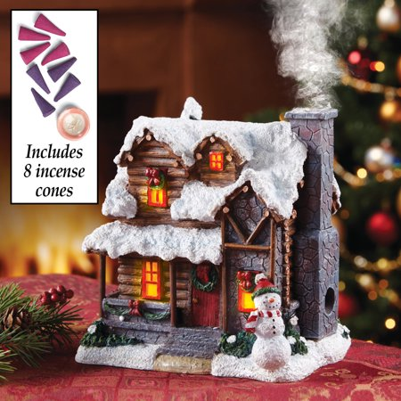 lighted incense burner smoking snowman christmas village cabin house decor centerpiece display table top accent holiday