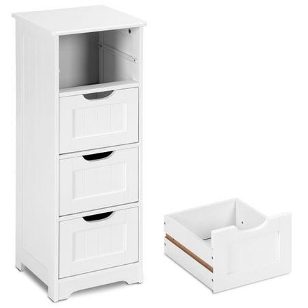 Gymax Bathroom Floor Cabinet Wooden Free Standing Storage ...