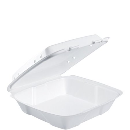 Dart 90HTPF1VR Foam Vented Hinged Lid Containers, 9w X 9 2/5d X 3h, White, 100/pk, 2 Pk/ct