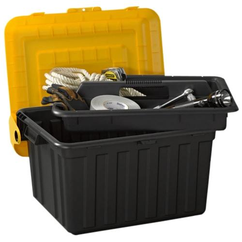 Homz DuraBILT Tote Locker with Tray - Black, Yellow