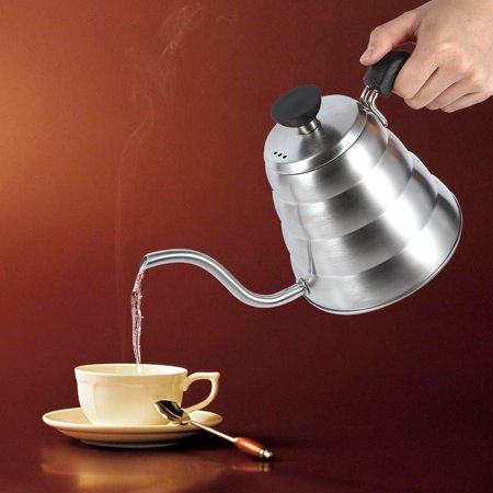 WALFRONT 1x 304 Stainless Steel Gooseneck Tea Pot Manual Coffee Drip Maker Infusion 1L Whistling Kettle, Stainless Tea Kettle, Coffee Drip (Teapot Drip)
