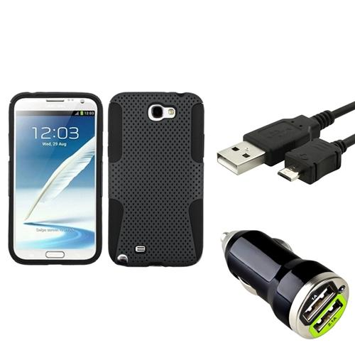 Insten Black/Grey Hybrid Case+3FT Cable+Dual USB Charger For Samsung Galaxy Note 2 II