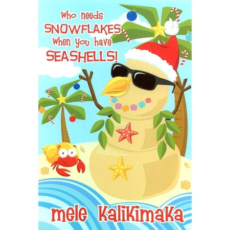 Seashell Sandman Hawaiian Snowman Holiday Cards 10 (Card Seashell)