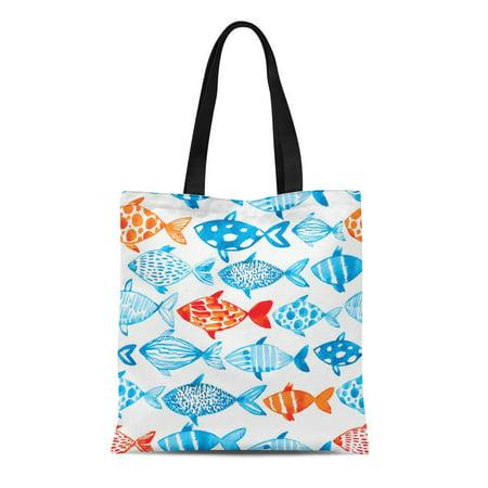 HATIART Canvas Tote Bag Watercolor Fish on Light Pattern Fishing Deep Ocean Reusable Shoulder Grocery Shopping Bags Handbag - image 1 of 1