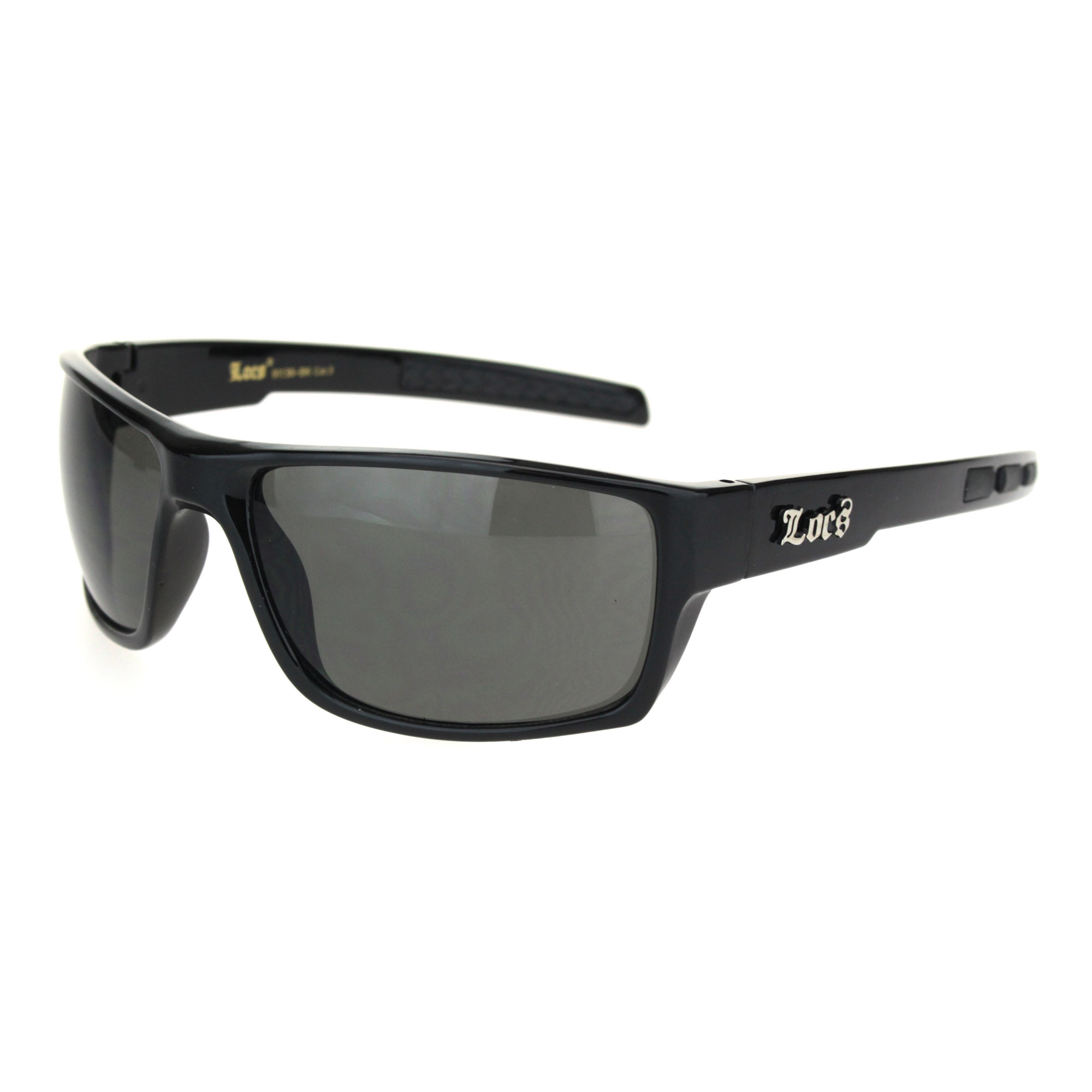 Locs Mens All Black Narrow Rectangular 90s Biker Cholo Gangster Plastic Warp Sunglasses