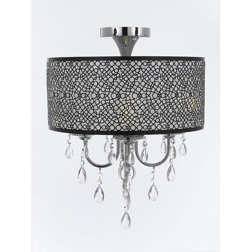 Rosdorf Park Altieri Bubble Shade Crystal 4-Light Semi Flush Mount by