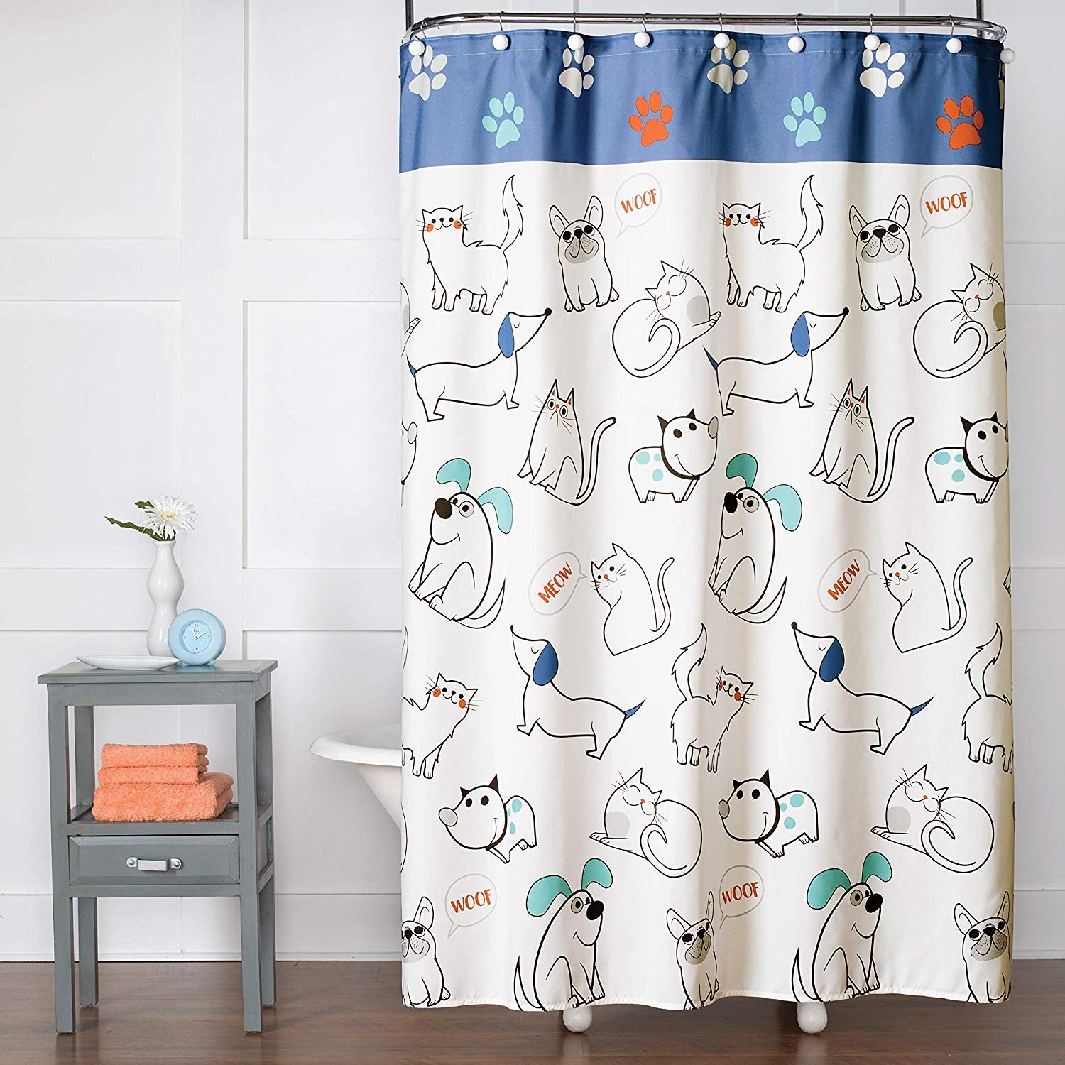Fabric Shower Curtain By Saturday Knight Limited 100/% polyester Miami Beach