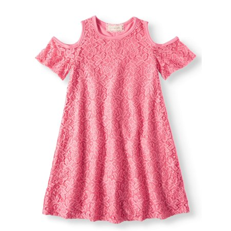 Cold Shoulder Lace Swing Dress (Big Girls) (Girls Boutique Dress)