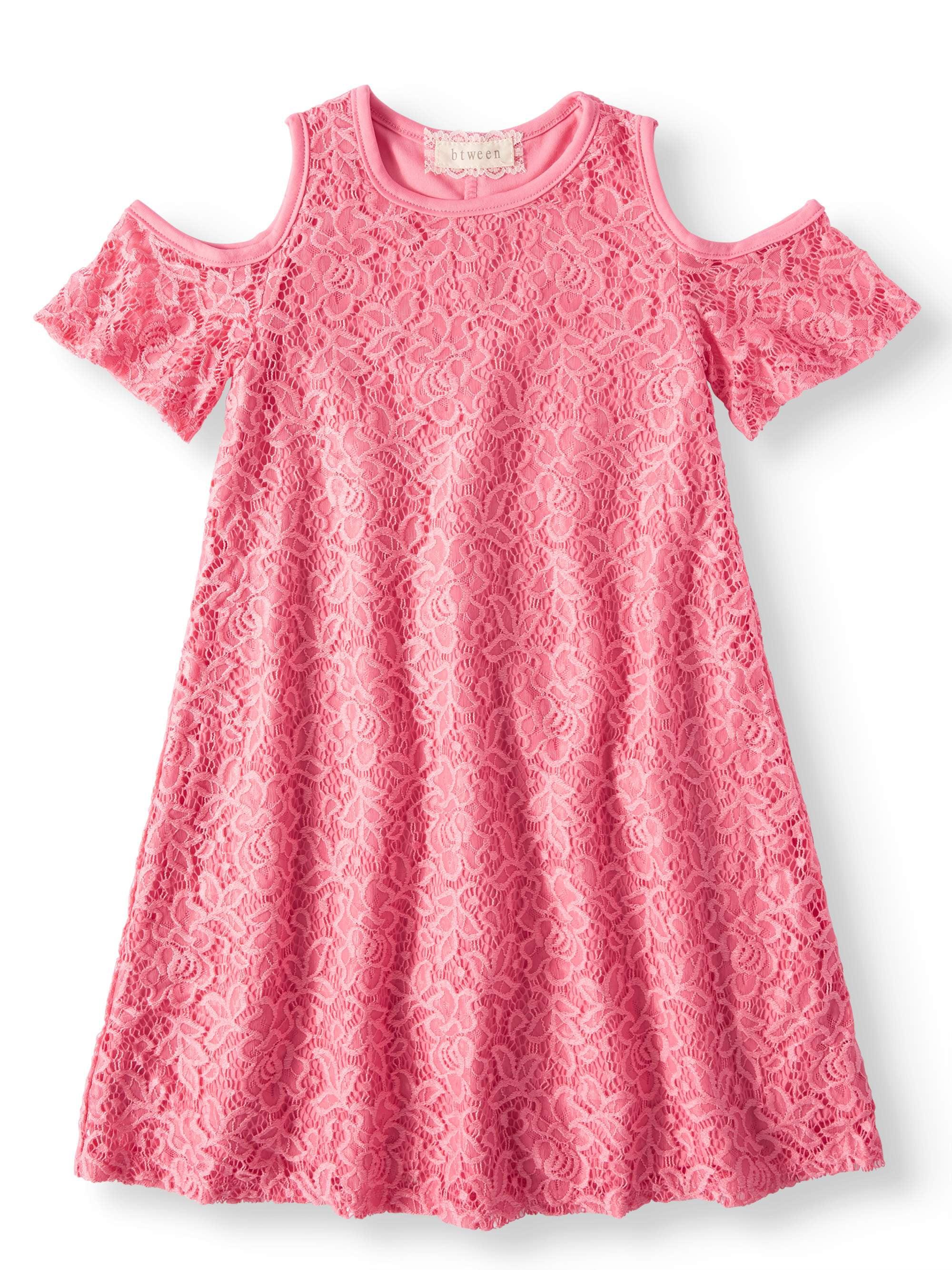Cold Shoulder Lace Swing Dress (Big Girls)