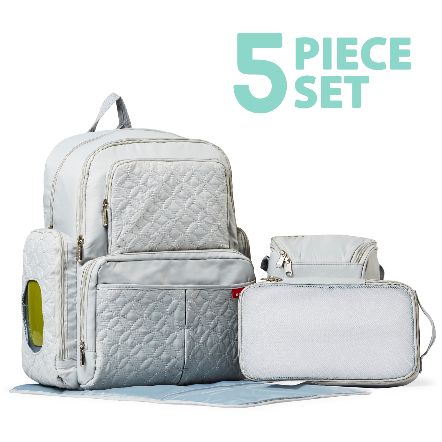 SoHo Collections, Diaper Bag Backpack with Stroller Straps, 5 Piece Complete Set, Manhattan (Silver Gray)