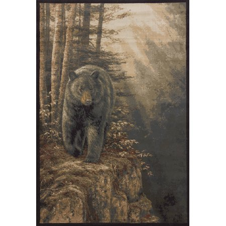 United Weavers Designer Genesis Area Rugs - 535-48917 Southwestern Lodge Brown Bear Trees Sunshine Cliff Rug (Genesis Polyester Rug)