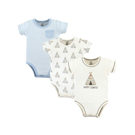 Touched by Nature Baby Boy Short Sleeve Bodysuit, 3-pack