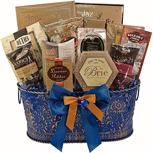True Blue Gourmet Food Gift Basket, (Candy Option)