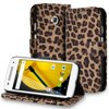 Fosmon Motorola Moto E (2nd Gen) Case (CADDY Leopard) Leather Wallet Case Pouch with Card Pocket Slots & Built-in Stand