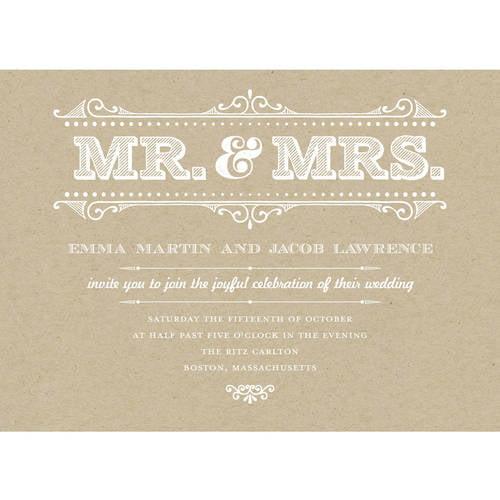 Mr and Mrs Rustic Standard Wedding Invitation