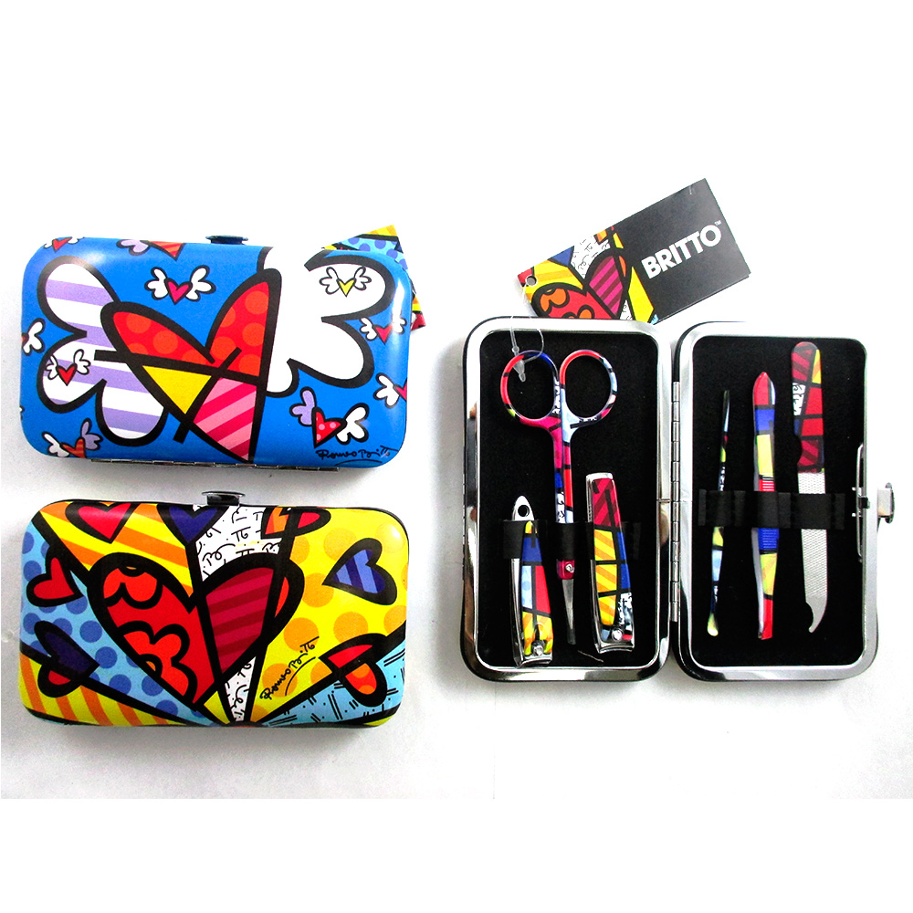 7 Pc Romero Britto Manicure Set Nail Care Clippers Cuticle Travel Grooming Case