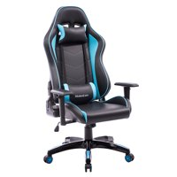 AOOLIVE Gaming Chair-PU leather/High-density sponge/Extra long chair back/Heavy-duty steel reinforced backrest(Black and blue)