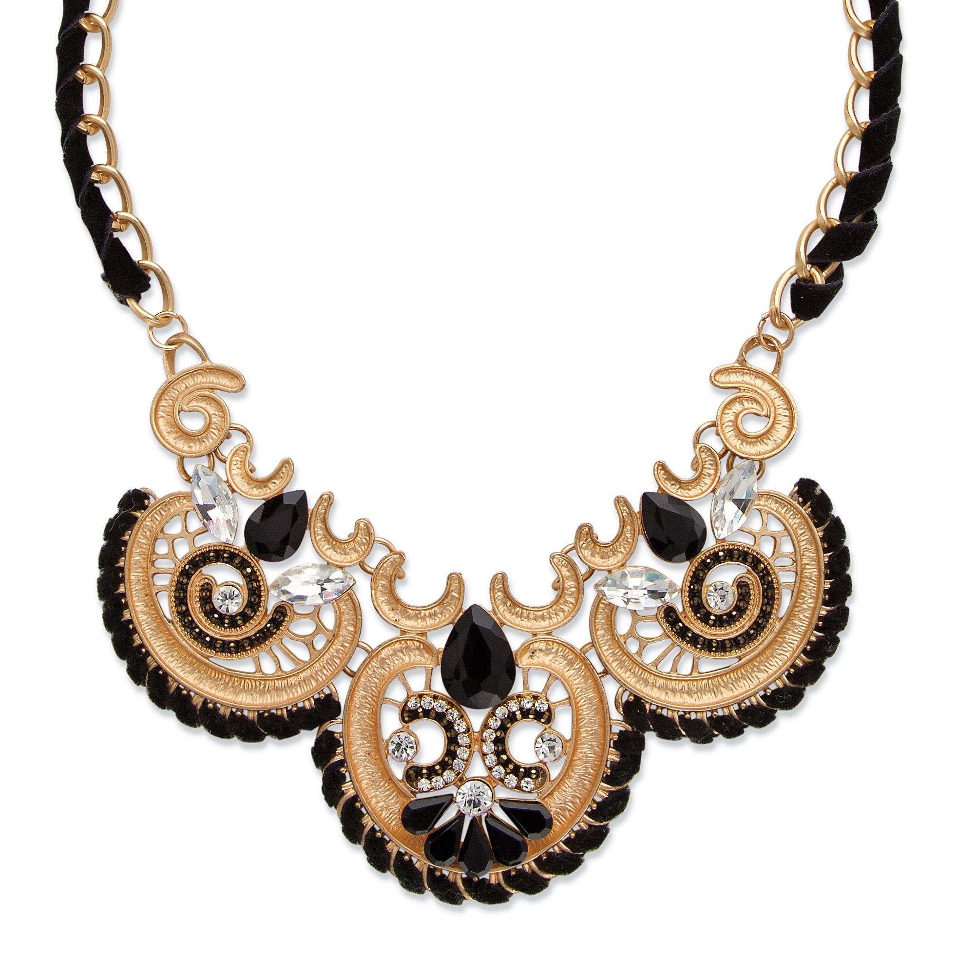 "Black and White Crystal Antiqued Gold Tone Scroll Statement Necklace 18"" - 20.5"""