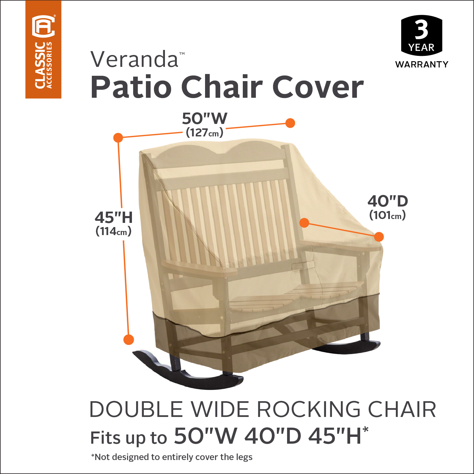 Classic Accessories Veranda™ Double-Wide Patio Rocking Chair Cover - Durable and Water Resistant Outdoor Furniture Cover (55-874-011501-00) - Walmart.com  sc 1 st  Walmart & Classic Accessories Veranda™ Double-Wide Patio Rocking Chair Cover ...