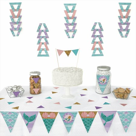 Let's Be Mermaids - Triangle Baby Shower or Birthday Party Decoration Kit - 72 Pieces