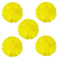 """Wrapables® 8"""" Set of 5 Tissue Pom Poms Party Decorations for Weddings, Birthday Parties Baby Showers and Nursery Décor, Yellow"""