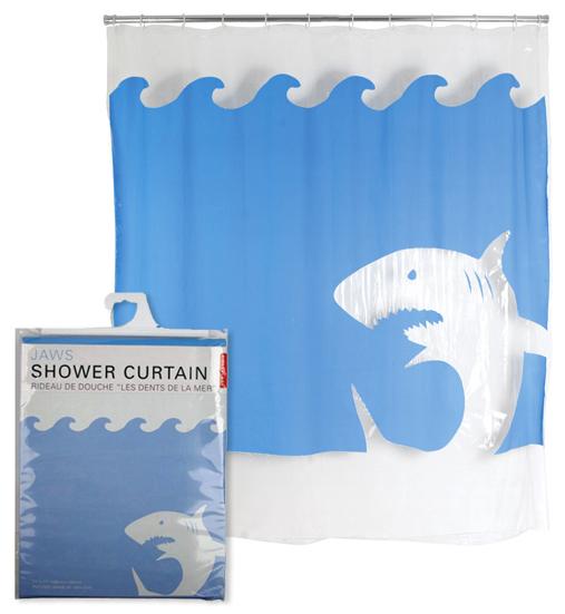 Kikkerland Jaws Shower Curtain 100% EVA Scary Shark New Hooks Bath Bathroom Blue