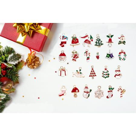Reactionnx Christmas Pendants Mini Christmas Charms Pendants Jewelry Making Accessories Christmas Bauble Multi-Colored Enamel Hanging Christmas Tree ()