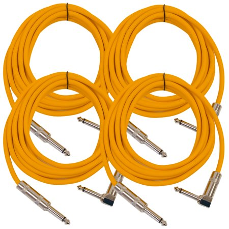 "Seismic Audio 4 Pack - 10' Orange Guitar Cable TS 1/4"" to Right Angle - Instrument Cord - SAGC10R-Orange-4Pack"