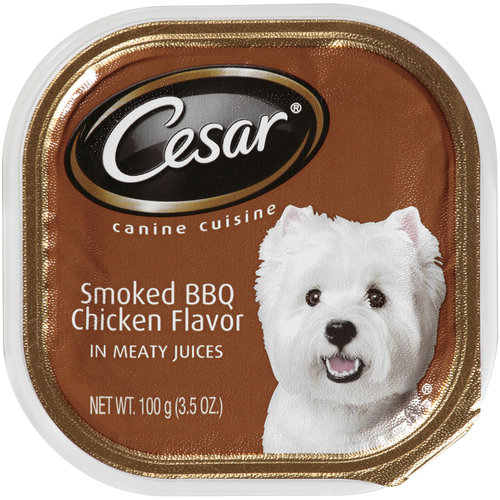 Cesar Canine Cuisine Smoked BBQ Chicken Flavor in Meaty Juices, 3.5 oz Tray