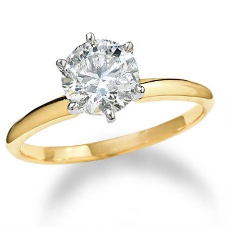 2 1/2 ct Round Solitaire Diamond Engagement Ring 14k Yellow Gold Enhanced