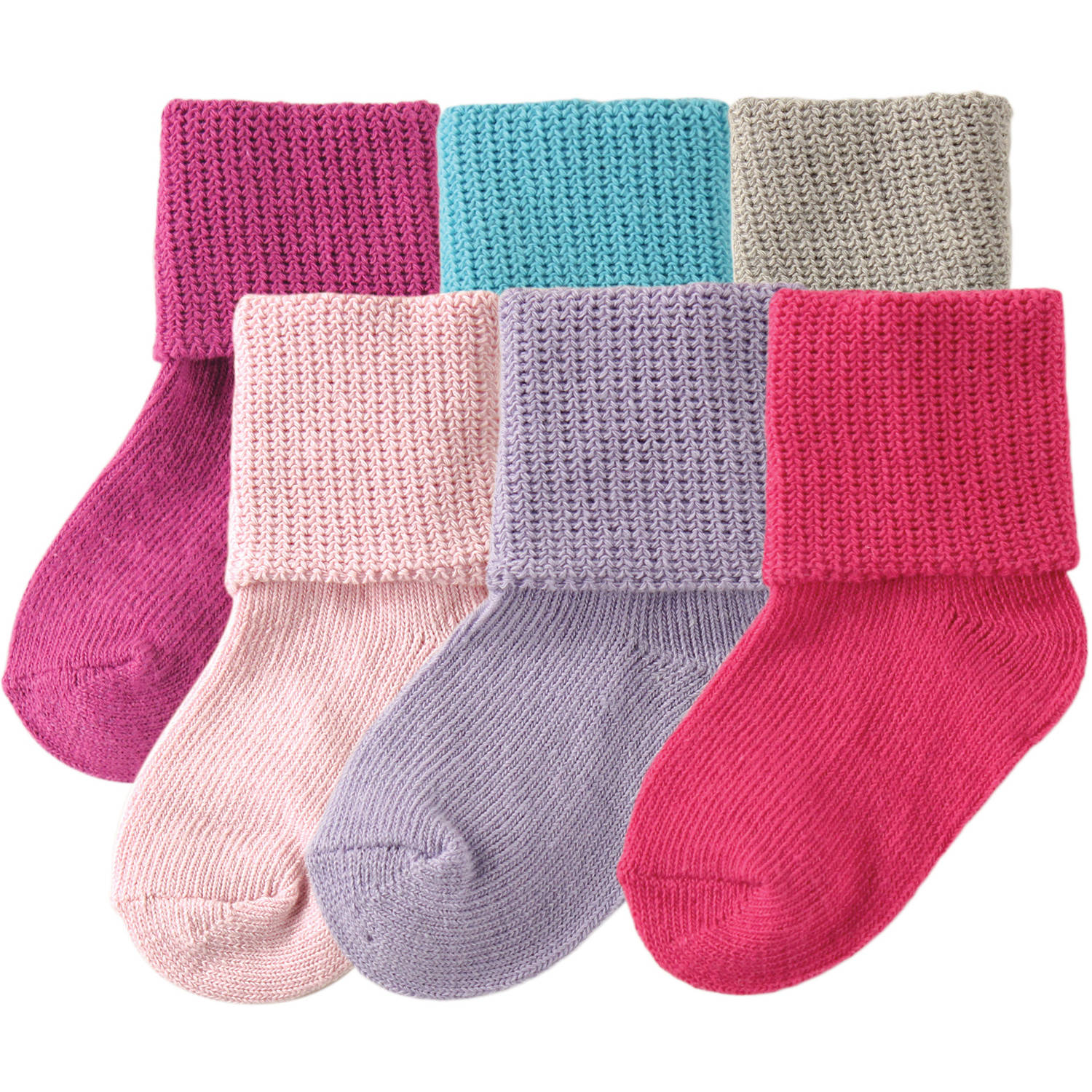 Luvable Friends Newborn Baby Girls Basic Cuff Socks 6-Pack