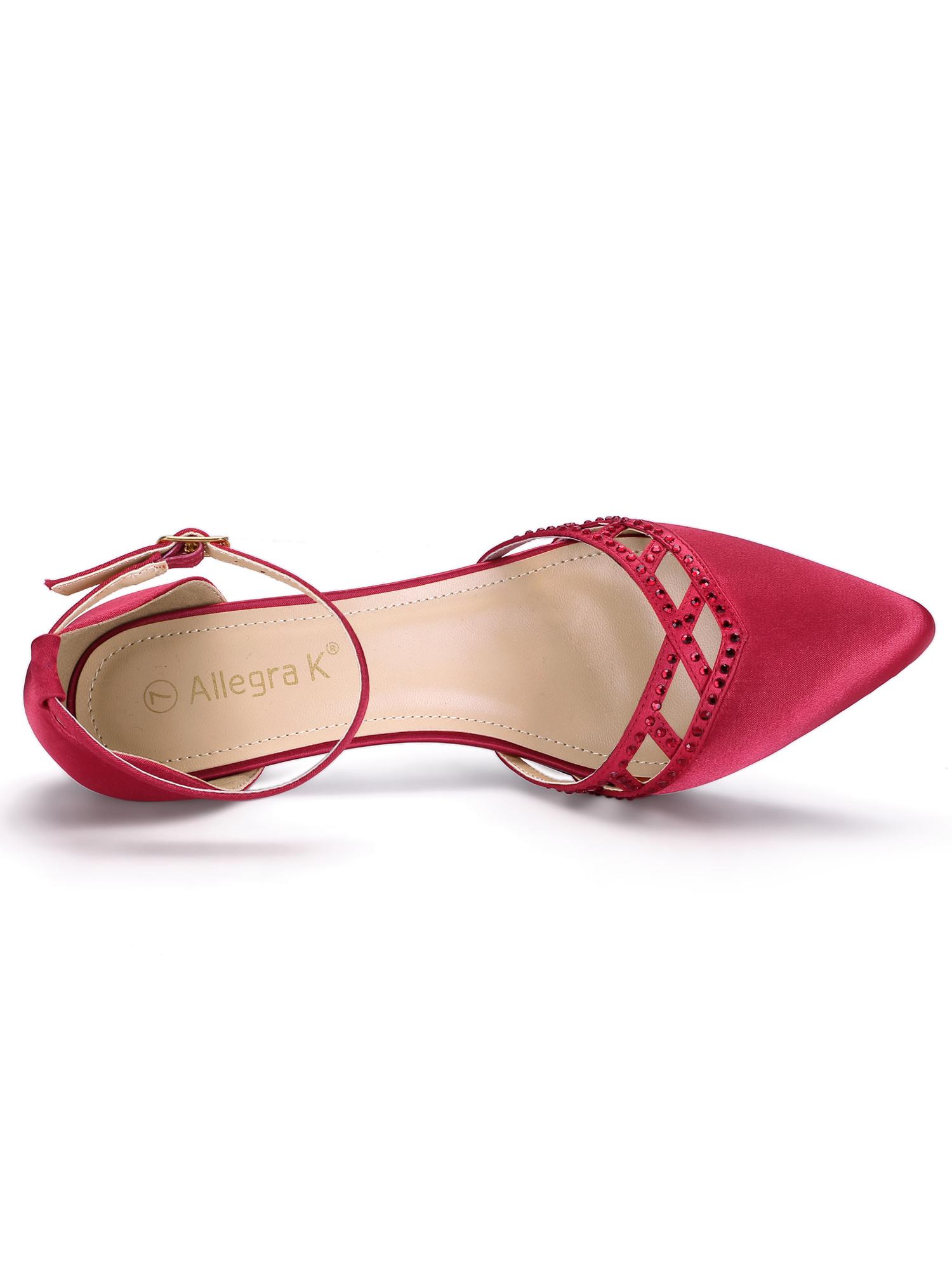 Women's Kitten Heel Ankle Strap Rhinestone Pumps Sandals Red (Size 6)