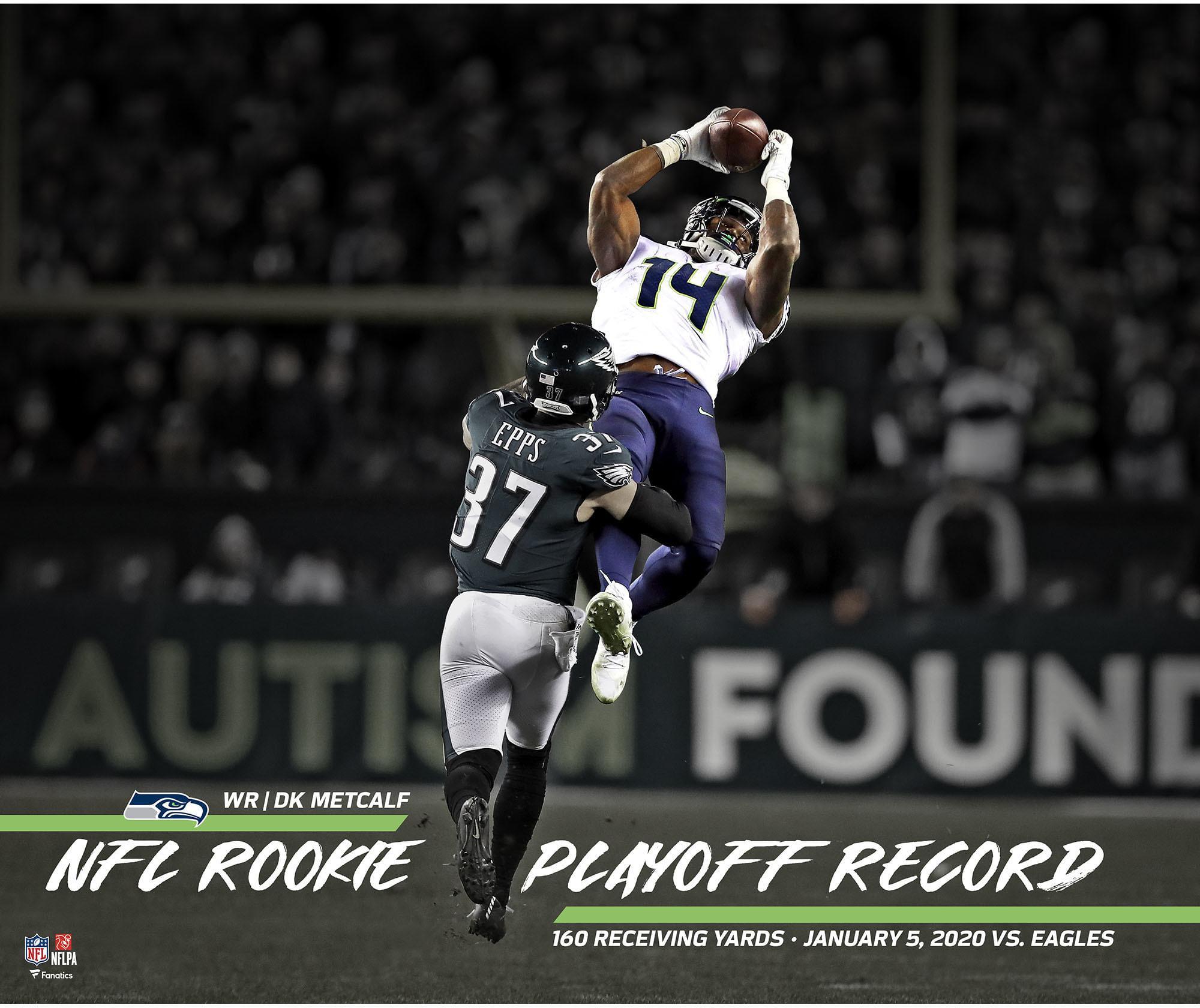 Fanatics Authentic Dk Metcalf Seattle Seahawks Unsigned Nfl Playoff Record Rookie Receiving Yards Photograph Walmart Com Walmart Com