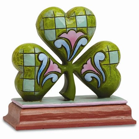 Jim Shore Heartwood Creek Mini Shamrock Stone Resin Figurine, 2.875â€