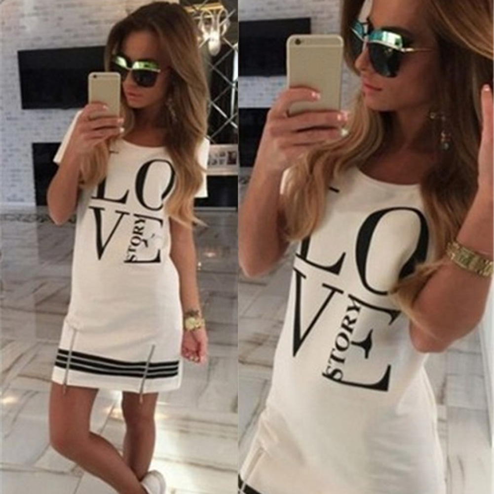 Sports Womens Letter LOVE Printed Long T-shirt One-piece Casual Dress Zipper