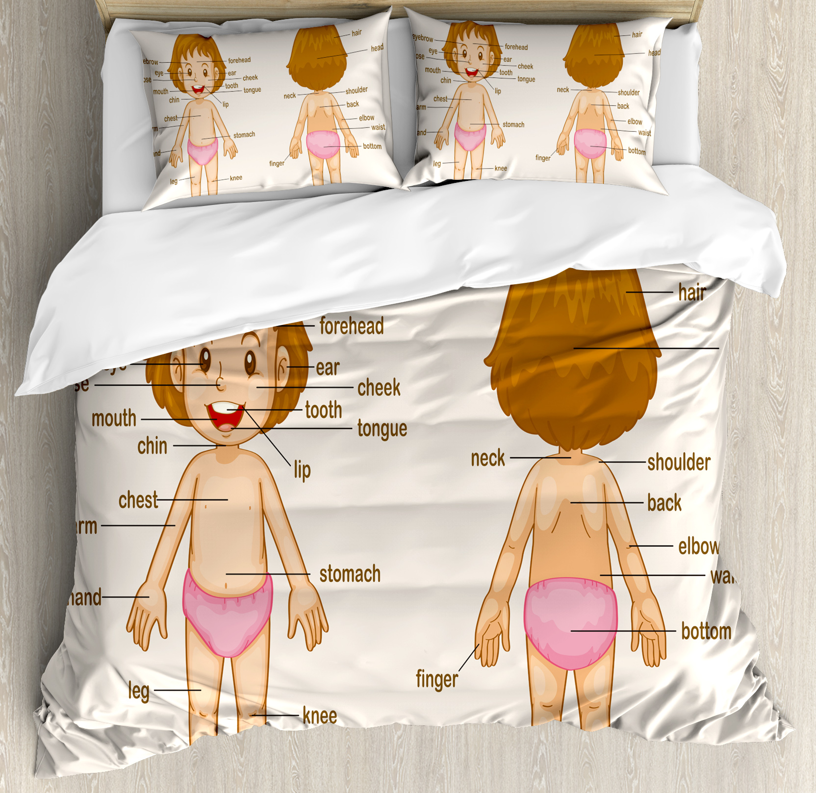 Educational Queen Size Duvet Cover Set, Cute Little Cartoon Girl Children Body Parts School Science Class, Decorative 3 Piece Bedding Set with 2 Pillow Shams, Pale Pink Brown Cream, by Ambesonne
