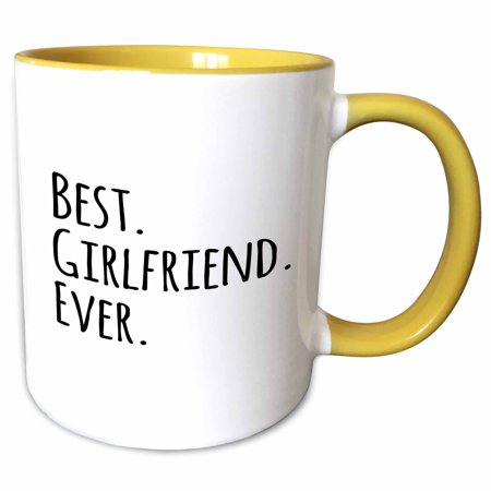 3dRose Best Girlfriend Ever - fun romantic love and dating gifts for her for anniversary or Valentines day - Two Tone Yellow Mug,