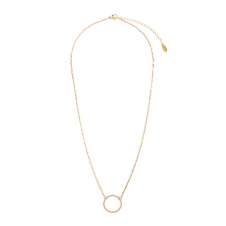 Circle Chain Necklace - Circle Goldtone Pendant Chain Necklace