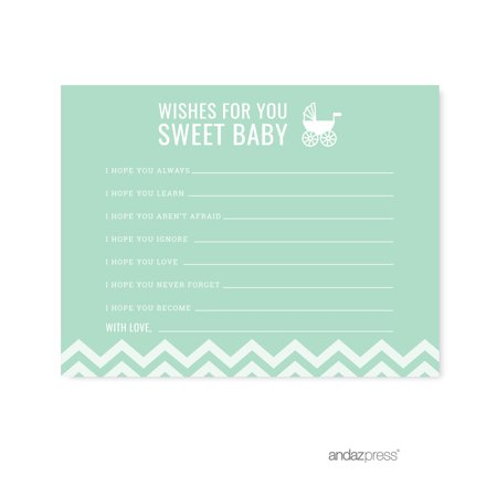 Wishes For Baby Mint Green Chevron Baby Shower Games, 20-Pack (Mint Green Baby Shower)