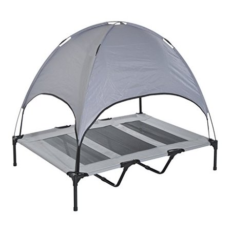 Pawhut 48  Elevated Cooling Dog Bed Cot W  Canopy Shade   Gray