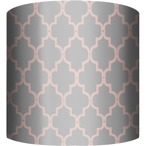 """10"""" Drum Lampshade, Fence Pink and Gray by"""