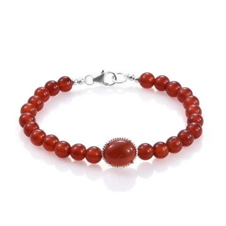 Women's 925 Sterling Silver Round Red Agate Beads Strand Bracelet 7.25