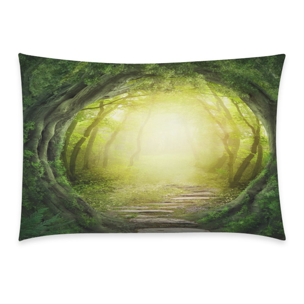 ZKGK Home Bathroom Decor Stone Tree Forest Pillowcases Decorative Pillow Cover Case Shams Standard Size for Couch Bed-Green Yellow 20x30 Inch Polyester Cotton-Fairy Tale Stone Forest Leaf