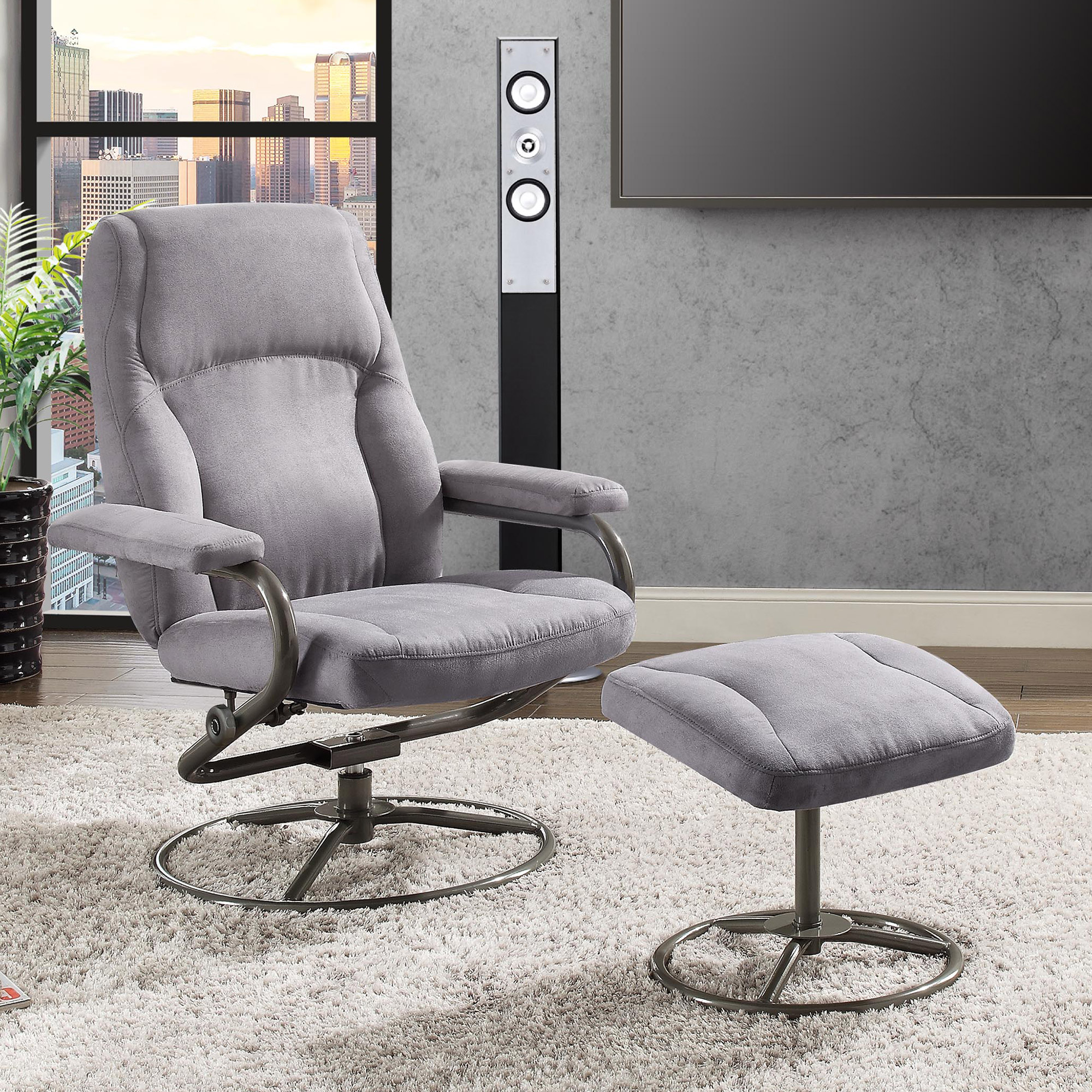 Recliner and Ottoman Set, Gray Microfiber Fabric Upholstery